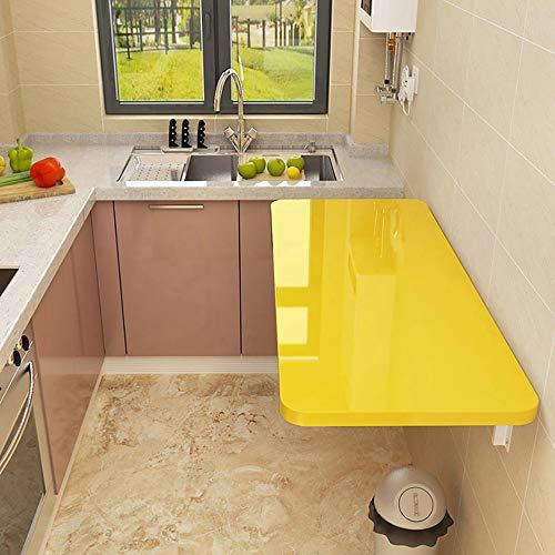 Outech Wandklapptisch, Weiß/Gelb Klapptisch Esstisch, Einfach zu Montieren Feuchtigkeitsbeständig