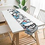 Free Brand Camino de mesa de 228 x 33 cm, diseño de nubes azules, diseño de círculo, decoración de mesa para boda, diseño de mantel, decoraciones al aire libre picnics mesa de comedor