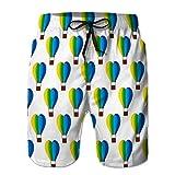 Xunulyn Shorts de Plage drôles pour Hommes Pantalons décontractés Ballon à air Chaud Conception de modèle créatif en Forme de Coeur coloré Heureux