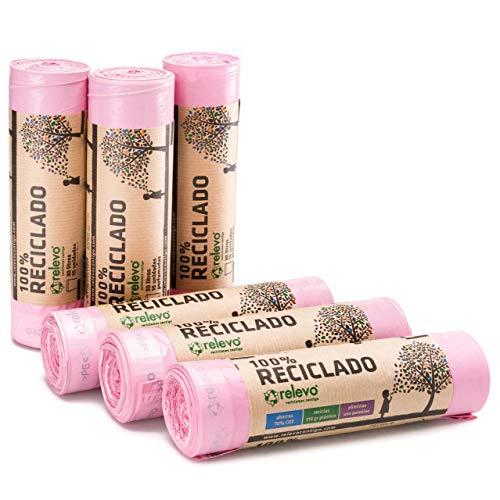 Relevo Sacchi Spazzatura Profumati 100% riciclati, 30 Litri, 90 unità