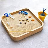 Mini Zen Garden Sandbox - Miniature Beach Zen Garden for Desk - Sand Tray Play Kit for Kids, Adults, Office - Desk Sand Box Gift Set with Natural Sand, Wooden Tray, Lid, Rakes, Rocks and Accessories
