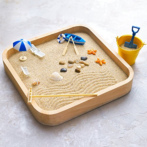 Mini Zen Garden Sandbox - Miniature Beach Zen Garden for Desk - Sand Tray Play Kit for Kids, Adults, Office - Desk Sand Box Gift Set with Natural Sand, Wooden Tray, Lid, Rakes, Rocks and Accessories