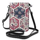 Lsjuee Bolso bandolera de estilo étnico para teléfono, pequeño mini bolso de hombro, bolso para teléfono celular, billetera de cuero para mujeres y niñas