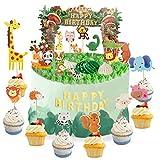 Herefun Niños Cumpleaños Animales Cupcake Toppers Animal Decoraciones, Fiesta Lindo Selva Temática Decoración Tarta Pastel Toppers, Adorno de Pastel de Bebe Niños Ducha de Bebé Fiesta de Cumpleaños
