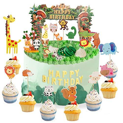 Herefun Safari Animal Cake Topper Decorations, Green Zoo/Jungle-Themed Cupcake Topper Set Happy Birthday Topper Cake Decoration for Kid Birthday Safari Animal Theme Party Decoration Supplies