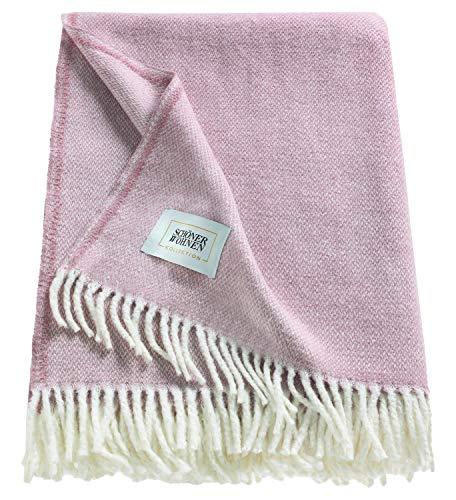 Schöner Wohnen Kollektion Tagesdecke 140x200 cm • Kuscheldecke rosa • Plaid Decke Relax • Sofadecke Baumwolle