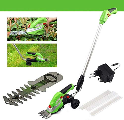 Why Should You Buy 2 in 1 Grass and Hedge Trimmer -3.6V Battery Powered Cordless, Interchangeable Blades, Easy Tool Blade Change, Telescopic Handle & Trolley Wheel Attachments,Withextensionrod