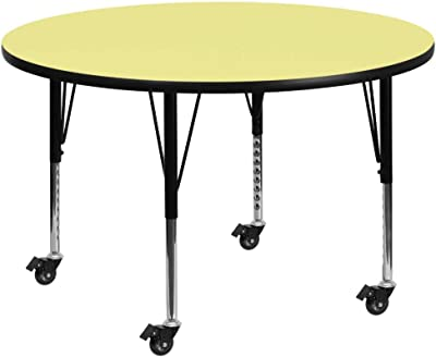 Flash Furniture Mobile 48'' Round Yellow Thermal Laminate Activity Table - Height Adjustable Short Legs
