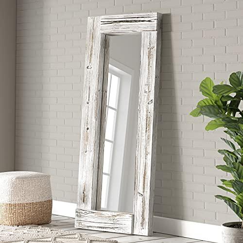 Barnyard Designs Espejo decorativo largo para colgar en la pared, estilo rústico, vintage, madera lavada, color blanco