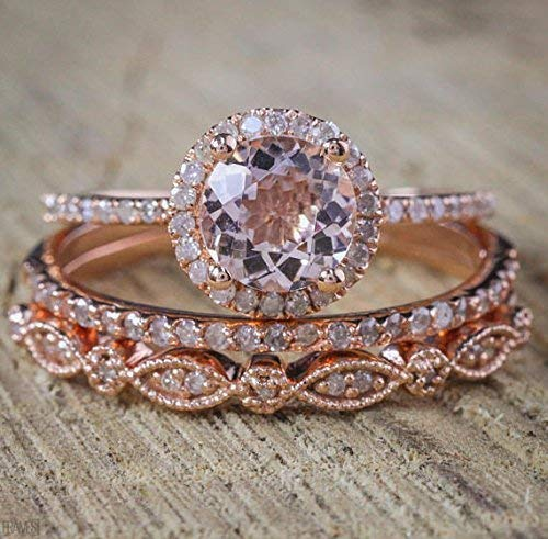 Amazon Com 2 Carat Morganite And Diamond Trio Wedding Ring Set On Rose Gold With Engagement Ring And Two Wedding Bands Handmade