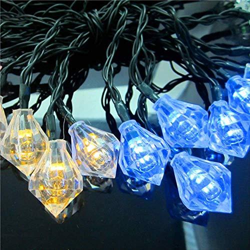 Catena Di Illuminazione Solare Catena Di Illuminazione A Forma Di Diamante Del Cortile Del Giardino Decorazioni Natalizie Colore Bianco 20Led