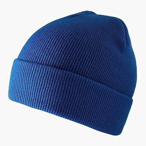 Fashion Solid Color Knitted Beanies Hat Winter Warm Ski Hats Men Women Multicolor Skullies Caps Soft Elastic Cap Sport Bonnet-Lake Blue