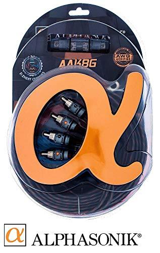 Alphasonik AAK8G Premium 8-Gauge Complete Car Amplifier Installation Kit Hyper-Flex Power, Ground, Speaker Wire RCA Cable - Exceeds AWG (American Wire Gauge) Standard Element Certified Amp Install Kit