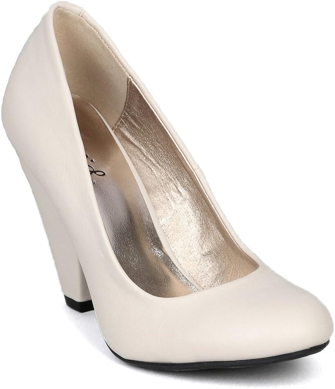 Qupid Rico-01 Womens Leatherette Designer Chunky Heel Round Toe Pumps