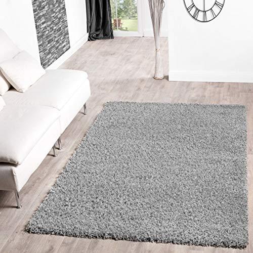 T&T Design Shaggy Teppich Hochflor Langflor Teppiche Wohnzimmer Preishammer Versch. Farben, Größe:120x170 cm, Farbe:grau