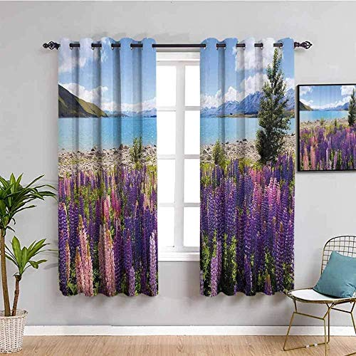 MENGBB Blackout Curtain for Kids Girls Microfiber - Landscape lavender lake plants - Thermal Insulated 90% Blackout - 110x102 inch Kitchen Bedroom Living Room Window Eyelet Curtains