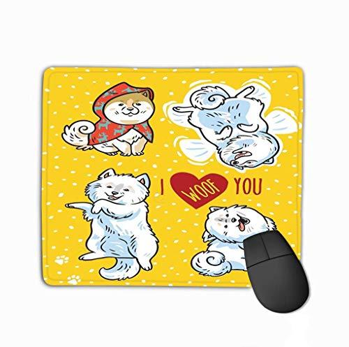 Rutschfeste Gummi-Mauspad-Gaming-Mauspad Ich liebe dich Gruß-Postkarte kann als Druckkarte verwendet werden Vier lustige Welpen-Beschriftung, die ich dich schmeichle