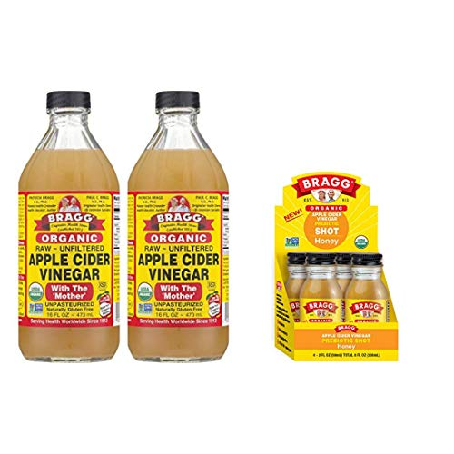 Bragg Organic Apple Cider Vinegar With the Mother 16 Ounce 2 Pack and Bragg Organic Apple Cider Vinegar Shot with Honey 2 Ounce ACV Shot 4 Pack Bundle