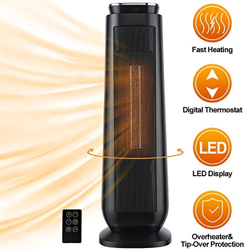 Space Heater, Indoor Portable Electric 1500W Ceramic Tower Heaters with Adjustable Thermostat and Remote, Built-in LED Display, Timer, ECO Mode, Tip-Over and Overheat Protection for Indoor Use, Office Heater Portable Space