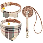 BINGPET Bow Tie Dog Collar with Leash Set - Cute Adjustable Classic Plaid Dog Bandana Collar with Bell, Fit for Small Dogs, Puppies and Cats Outdoor Walking