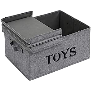 Xbopetda Toy Storage Organizer Chest for Kids & Living Room/Nursery/Playroom/Closet-Large Collapsible Toys Bin with Lid for Children & Pet Toys, Great Box for Boys and Girls-Snow Gray