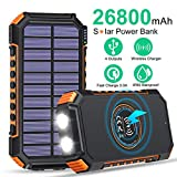 Solar Charger 26800mAh High Capacity, ADDTOP Wireless Portable Charger USB C Solar Power Bank with 4 Outputs, Fast Charging Phone Charger for iPhone Samsung iPad and Outdoor Waterproof Camping\/Hiking