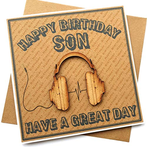 Son Birthday Card - Handmade Wooden Headphones/Music/Gaming Cards for Sons - Luxury 3D Headphone