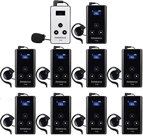 Case of 1 Transmitter 9 Receivers,Retekess TT101,Wireless Tour Guide System,Simultaneous Translation Equipment with Mute,Multichannel Church Translator Device for Court,Factory,Teaching