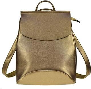 Women Backpack PU Leather Backpacks for Teenage Girls Female School Shoulder Bag Mochila,Silver-Gold-OneSize
