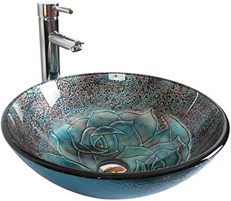Blau Grau Geschnitzte Blaumen Gehrtetes Glas Waschbecken ...