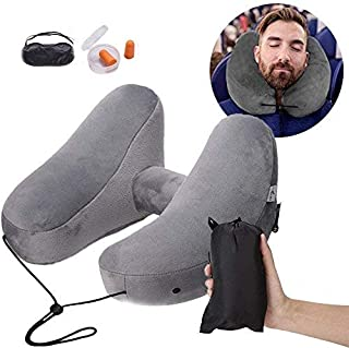 Lucear Inflatable Travel Pillow Set for Airplane Train Car Office Rest- Velvet Travel Support Neck Pillow, Sleep Mask, Earplugs - Including Carry Pouch - 3 Seconds Inflate Full (Light Gray)