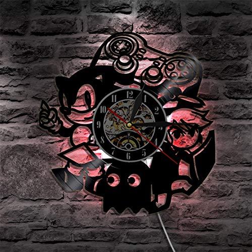 XYLLYT Reloj de Pared de Videojuegos Vintage decoración del hogar Mango de Juego Sala de Arcade Signo de Pared Reproductor de Juego Disco de Vinilo Reloj de Pared Juego de Regalo