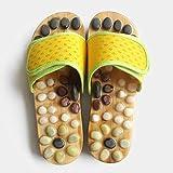 ypyrhh Sandalias Fitness,Deslizadores del Masaje del Punto de acupuntura del Cuarto de baño,Zapatos caseros Antideslizantes Gruesos-Amarillo_43,Zapatillas de Ducha con Espalda Abierta