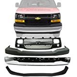 NEW FRONT BUMPER CHROME STEEL + GRILLE + UPPER COVER & LOWER VALANCE AIR DEFLECTOR TEXTURED FOR 2003-2017 CHEVROLET EXPRESS/GMC SAVANA VAN DIRECT REPLACEMENT 22890548 22816424 12335714 25758613