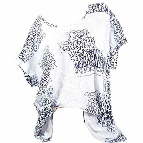 VJGOAL Damen T-Shirt, (S-5XL) Lose Tops Damen Mode Kurze Fledermaus Ärmel Bluse Casual Brief Print Pocket Sommer T-Shirts (3XL, Weiß)