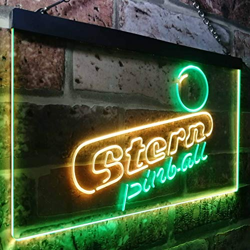 zusme Stern Pinball Game Room Man Cave Novelty LED Neon Sign Green + Yellow W30cm x H20cm