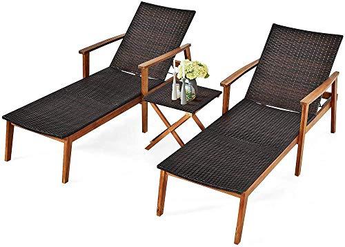 YRRA 3 Stück Outdoor Chaise Set Wicker Rattan Lounge Stuhl W/Acacia Holz Rahmen 4 Einstellbare Positionen Patio Wicker Lounge Set & Faltbare Beistelltisch Geeignet