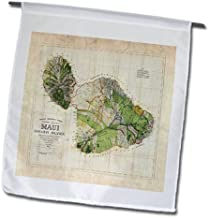 3dRose fl_100516_1 Picture of 1885 Map of Maui Hawaii Garden Flag, 12 by 18-Inch