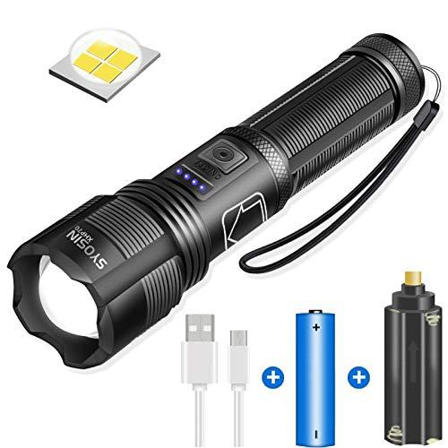XHP70 Taschenlampen Led Superhelle 10000 Lumen, LED-Taschenlampe mit USB aufladbar, IPX4 wasserdicht, 5 Lichtmodi Zoombare Taschenlampe für Camping Outdoor Bicyle, inklusive 18650 Batterie (schwarz)