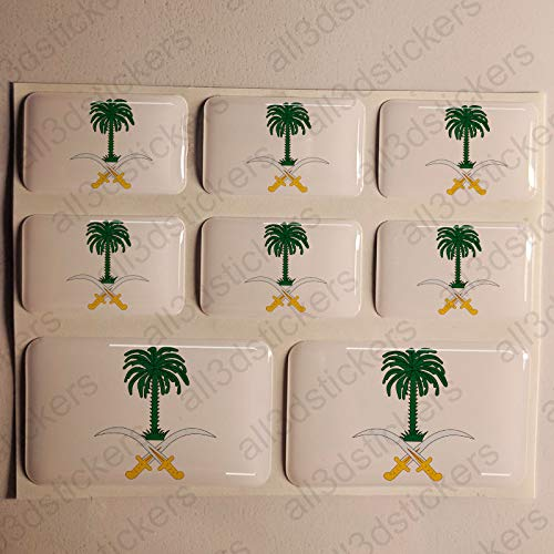 Stickers Saudi Arabia 3D, 8 x Stickers Coat of Arms Saudi Arabia Resin Domed vinyl sticker flag
