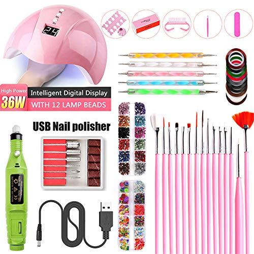 Nail Electric SA, UV Lampe de photothérapie, Nail Sticker Drill Tool Set, Les meilleurs cadeaux pour les filles de femmes,Vert