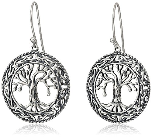 Sterling Silver Oxidized Celtic Tree of Life Dangle Earrings
