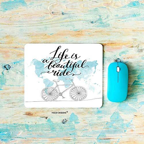 Gaming Mouse Pad Fahrrad, Zitate Das Leben ist ein schönes Gezeiten Fahrrad Bild mit Weltkarte Mousepad Rechteck rutschfeste Gummi Mauspads