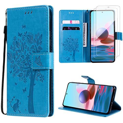 Oududianzi für Xiaomi Redmi Note 10 4G/Note 10s Hülle+[2 x Panzerglas Bildschirmschutzfolie] Leder Klapphülle Flipcase Brieftasche Schutzhülle mit [Kartenfächer][Magnetverschluss] [Standfunktion] -Blau