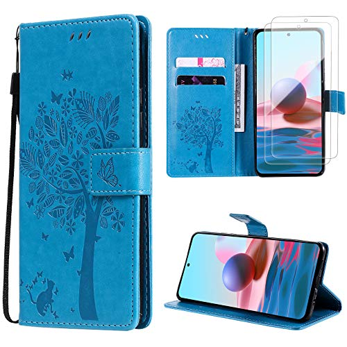 Oududianzi für Xiaomi Redmi Note 10 Hülle+ [2 x Panzerglas Displayschutzfolie] Leder Klapphülle Tasche Flipcase Brieftasche Schutzhülle mit...