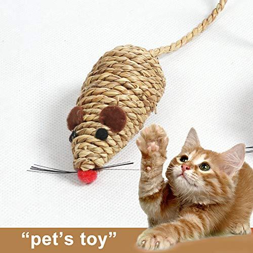 TankMR - Cuerda de paja trenzada para ratones de simulación para mascotas, gatos, arañazos, juguete para masticar, el mejor regalo para gatos