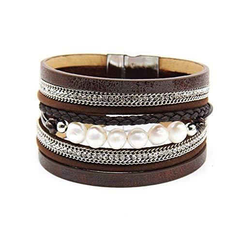 NA Armband SchmuckMode Braid Leder Seil Armbänder Für Frauen Legierung KettenverschlussMultilayer Wrap Pearl Frauen Armband Armband Schmuck Kaffee