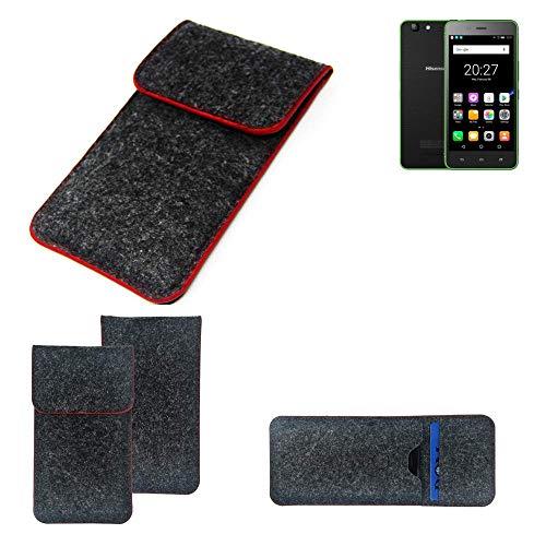 K-S-Trade® Handy Schutz Hülle Für Hisense Rock Lite Schutzhülle Handyhülle Filztasche Pouch Tasche Case Sleeve Filzhülle Dunkelgrau Roter Rand