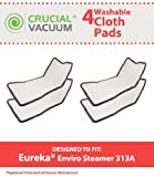 Crucial Vacuum Replacement Mop Pads Part # 60978, 60980 & 60980A - Fits Eureka Steam Pad Fit Models 310A, 311A, 313A Enviro Floor Steamer - Washable, Reusable Part and Model for Home (4 Pack)
