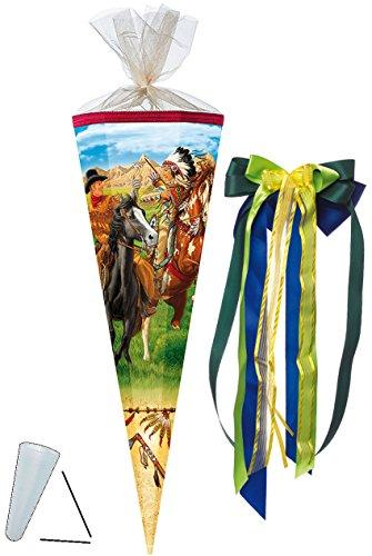 alles-meine.de GmbH Schultüte -  Cowboy & Indianer  - 85 cm - eckig - incl. große Schleife - Tüllabschluß - Zuckertüte - mit / ohne Kunststoff Spitze - für Jungen - Pferde - Re..